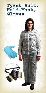 Tyvek Suit, Half Mask, Gloves